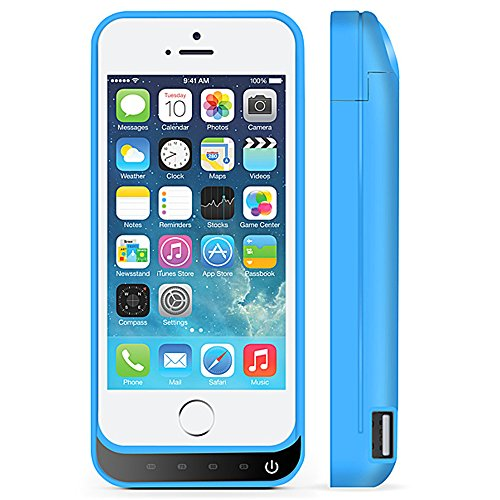 iPhone 5 Battery instance SQDeal handheld 4200mah External Battery Charger instance Protective Cover drink energy Bank for iPhone 5 5S 5C SE gentle Blue Battery Charger Cases