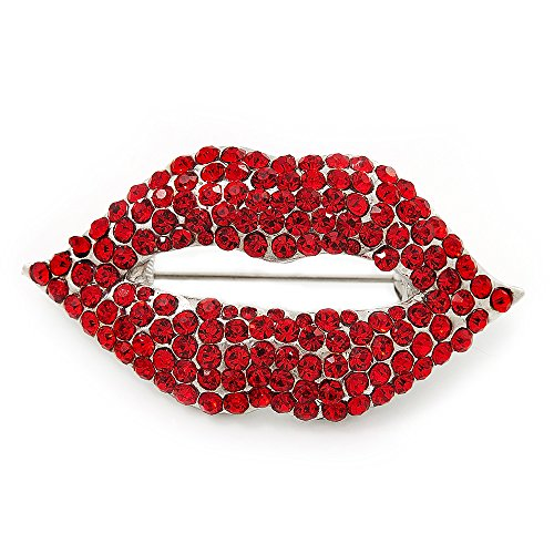 Sparkling Hot Red Crystal Lips Brooch (Silver Plated Metal)