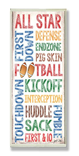 The Kids Room by Stupell All Star Football Typography Rectangle Wall Plaque, 7 x 0.5 x 17, Proudly Made in USA
