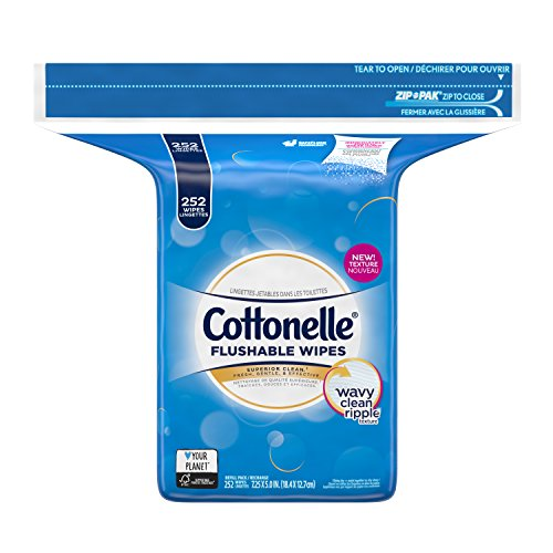 Cottonelle FreshCare Flushable Wipes Refill, 252 Flushable Wet Wipes, Lightly (Lightly Scented Wipes)