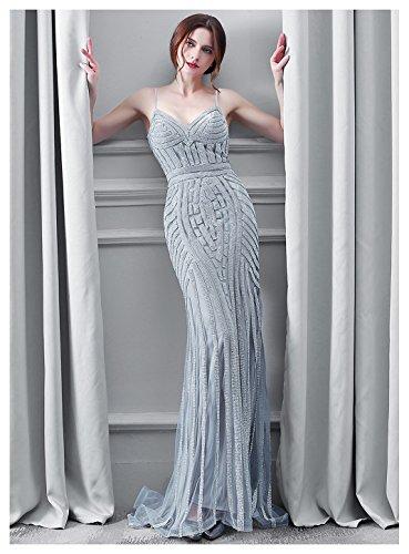 Belle Maison Perles De Cristal Femmes V-cou Robe De Reconstitution Historique De Robe De Soirée Sirène Lx116-gris