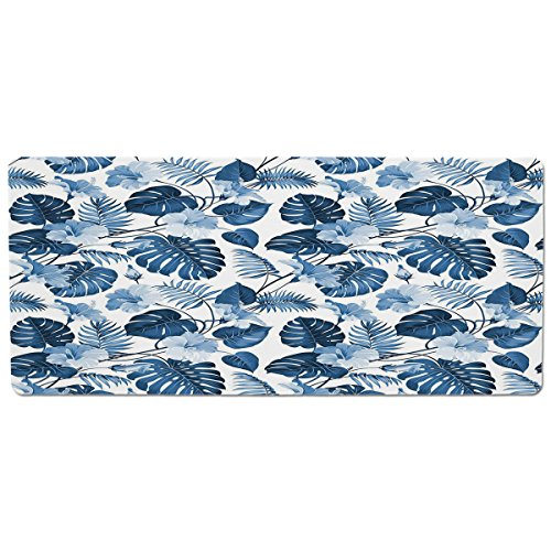 Mouse Pad Unique Custom Printed Mousepad [ Leaf,Palm and Mango Tree Branch and Hawaiian Hibiscus Flower Image,Light Blue Turquoise and Dark Blue ] Stitched Edge Non Slip Rubber ()