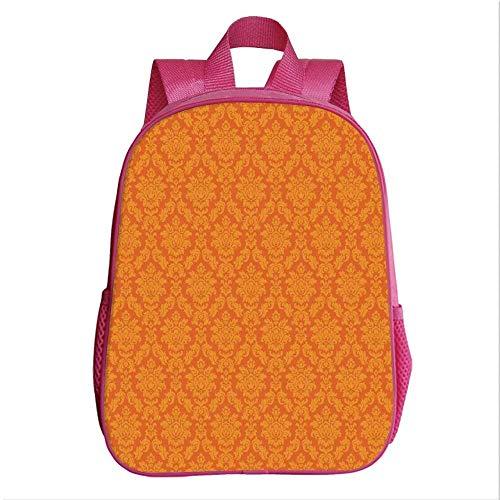 Burnt Orange School Bag Backpack,Classic Baroque Venetian Random Patterns with Antique Decorative Floral Leaves Home Decorative for Kindergarten Baby,9.4''Lx4.7''Wx11.8''H