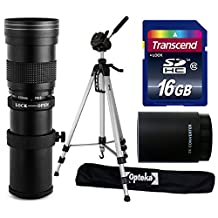 "Opteka 420-1600mm f/8.3 HD Telephoto Zoom Lens Bundle Package includes 2X Teleconverter + 70"" Tripod Photo/Video Tripod + 16GB Memory Card + Lens Cleaning Kit for Nikon DF, D3, D40, D40x, D60, D80,"