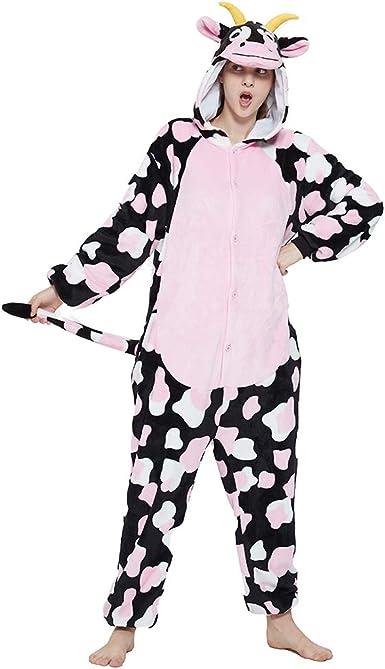 ACOGNA Cow Onesie Costume Adult Pajamas for Women Plush One Piece Halloween Christmas Animal Cosplay Teen Suit