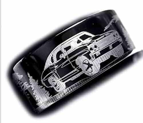 Lex /& Lu Edward Mirell Black Ti Diamond w//Sterling Silver Bezel Band LAL99300