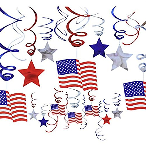 Hanging Streamers Decorations, Coxeer Red White Blue Star, Star Streamers for DIY Birthday Party Decorations, DIY Room Decorations (30 Count) -