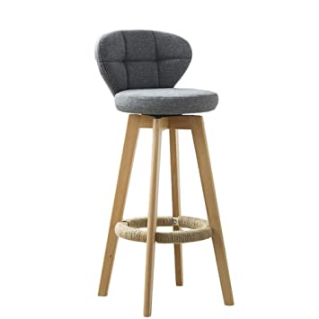Liqicai Wooden Gray Bar Stool Fabric Seat Swivel Stool Available In