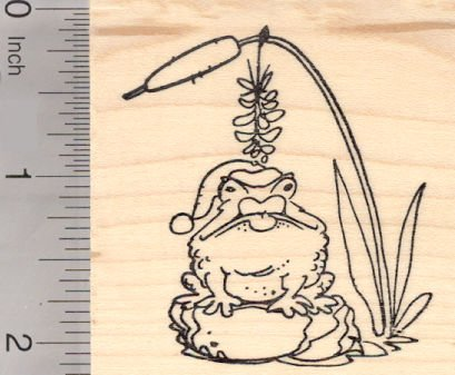 Christmas Frog under Mistletoe Rubber Stamp, Toad