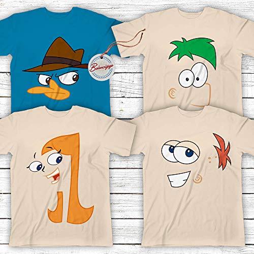 (Flynn-&-Fletcher Cartoon Characters Halloween Costume Matching Family Group Team Of 4 Customized Handmade Hoodie/Sweater/Long Sleeve/Tank Top/Premium)