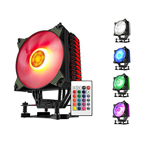 Lga775 Mini Itx Motherboard (aigo K4 RGB 4 Heatpipes Silent CPU Fan Cooler CPU Radiator With 120mm LED PWM Fan For INTEL and AMD Full Platforms AM4 Support, with IR Control)