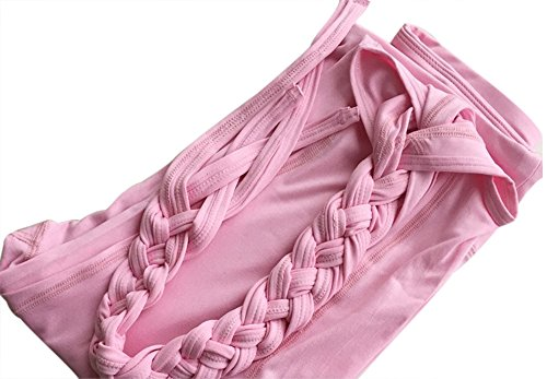 Womens Fashion Running Leggings Yoga Gym Ninth Pants With Ballet Ribbon Design (M, Pink) (Poly String Tank)