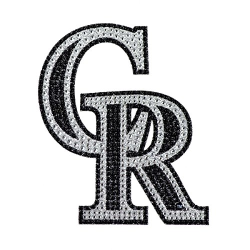 MLB Colorado Rockies Adhesive Decal with Rhinestone Bling, One Size, Silver