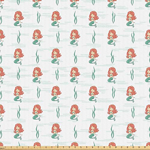 Lunarable Mermaid Fabric by The Yard, Female Character Popular Underwater Fairy Tale Princess Closed Eyes, Microfiber Fabric for Arts and Crafts Textiles & Decor, 1 Yard, Mint Coral Cream -