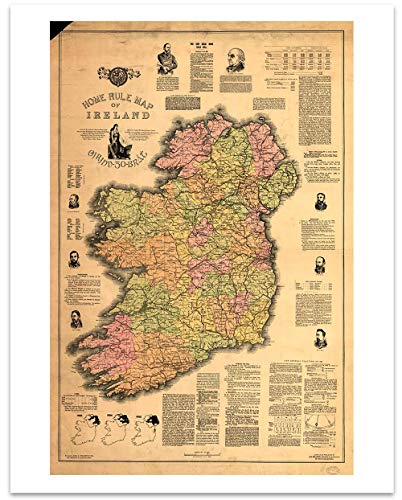 (Ireland Vintage Map Circa 1893-11 x 14 Unframed Print - Great Housewarming Gift for the Irish in Your Life)