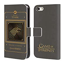Official HBO Game Of Thrones Stark Border Golden Sigils Leather Book Wallet Case Cover For Apple iPhone 5 / 5s / SE