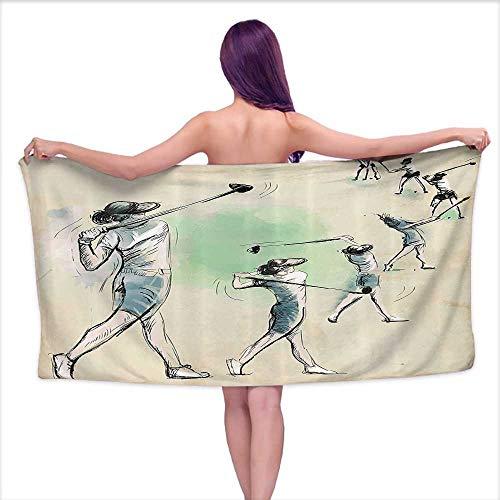 (Aurauiora Luxury Bath Towels Sports,Artistic Golf Player in Motion Club Game Sketch Style Illustration,Cream Fern Green Petrol Blue,W12 xL35 for Beach)