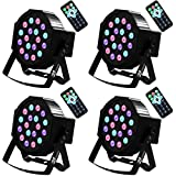 par can led lights - Uplights 18 RGB Led Up Lights, Missyee Sound Activated DMX Uplighting, LED Par Can Lights with Remote Control, DJ Uplighting Package for Wedding Birthday Home Party (4 pcs)