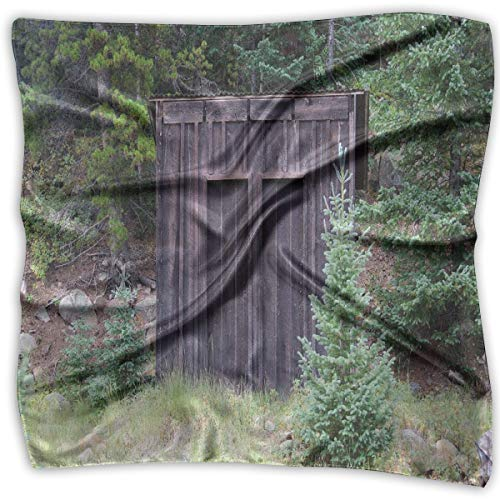 (Bandana Head and Neck Tie Neckerchief,Farm Life House Wooden Door Of Cottage Hut In Woodland Leaves Art Print,Headband)