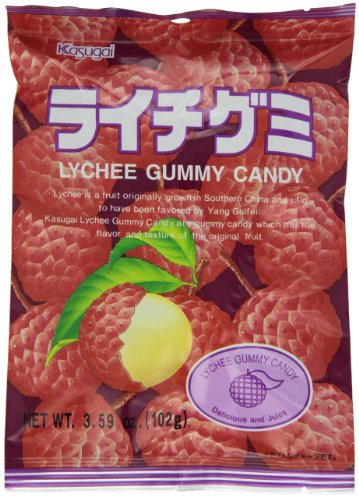 Kasugai Lychee Gummy Candy, 3.59-Ounce Bags (Pack of 12)