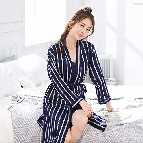 Bleu Foncé X-grand WXIN Femmes Les Couples Pyjama Glace Silk Robe Home Service Hommes et Femmes Manches Longues Soie 2 pièces, Vert, grand