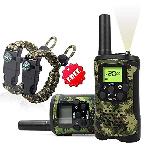 KidsWalkieTalkiesSet - Walkie Talkies for Kids 2 Way Radio Boy Birthday Gift for 4-8 Year Old Boys and Girls Fit Games, Adventure and Camping. Strap and Paracord Bracelet Included. (Camo)