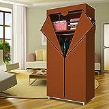 HHAiNi Portable Single Wardrobe Closet Storage Organizer, Fully-enclosed Folding Clothes Rack with Shelves
