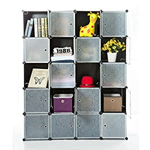 Unicoo - Multi Use DIY Plastic 20 Cube Organizer, Bookcase, Storage Cabinet, Wardrobe Closet with Black + White Door