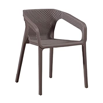 Finch Fox Plastic Armrest Dining Chair/Restaurant Chair/Cafeteria Chair/Cafe Chair/Arm Side Chairs ABS Plastic (Brown)