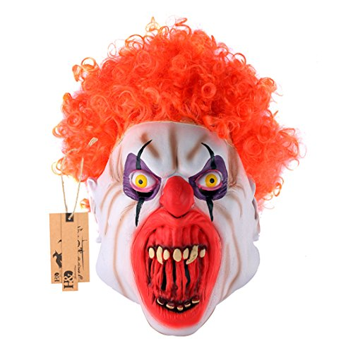YUFENG Halloween Clown Masks,Creepy Scary or Funny Clown Latex Mask for Costume party or Cosplay (Red curly hair clown (Killer Masks)