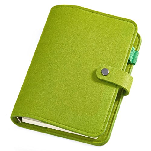 Blank Line Card Slot Cover - Poway Wool Felt Writing Journal Spiral Bound 6 Ring Pocket Traveler Notebook Diary with Refillable Pages, 80 Sheets (160 Pages) 100gsm Premium Paper (A6 Line, Green)