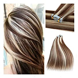 Rinboool 14Inch 40g Highlighted Tape In Hair Extensions Real Natural Remy Human Hair Seamless Balayage 2 Tone Piano Color Chestnut Brown To Platinum Blonde