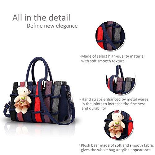 Crossbody Shopping for Women Bag NICOLE Colorful Handbag Fashion Blue Handles Shoulder Long Navy Ladies Navy Blue Tote PU amp;DORIS Purse XR6x6z