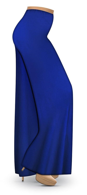 Solid Blue Slinky Wide Leg Plus Size Supersize Palazzo Pants