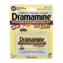 Dramamine Motion Sickness Relief for Kids Chewable Tablets Grape Flavor , 8 CT (Pack of 6)