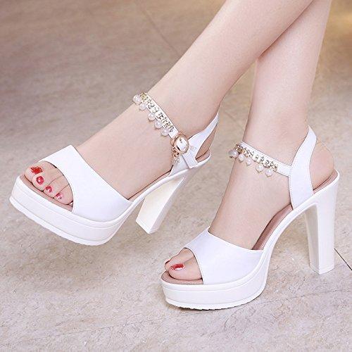 bocca YMFIE donna pelle confortevole estate B tacco pesce sandali in tacchi scarpe moda Tacchi alti alti alto TTx0BqF