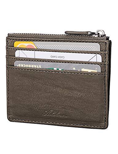 AslabCrew Minimalist Genuine Leather Zipper RFID Blocking Front Pocket Wallet, Slim Card Wallets, Gneiss-Mocha