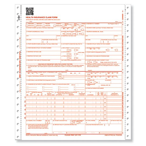 NEW CMS 1500 Forms (02/12) (2500 Sheets) 1 Part - For Pinfeed Printers by Jaxplaza