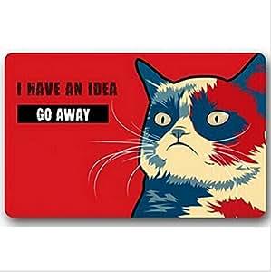 Tengo una idea desaparezca Gruñón gato impreso Felpudo, antideslizante Doormats, tamaño 40x 60cm.