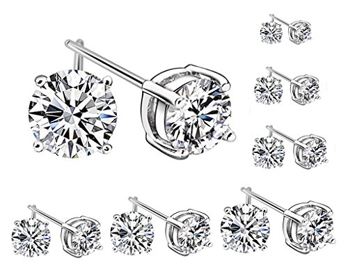 [BONAMART ® 7 Pairs Cubic Zirconia Round Stud Earrings Silver Set 3-8mm,10mm] (3mm Round 4 Prong)