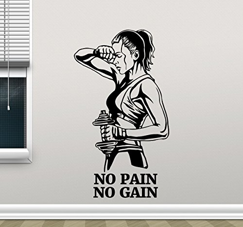 - No Pain No Gain Fitness Wall Decal Healthy Lifestyle Gym Fitness Vinyl Sticker Girl with Dumbbell Fitness Motivation Sports Gym Wall Art Design Inspirational Gym Quote Decor Wall Mural 45fit