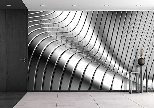 wall26 - Aluminum Abstract Silver Stripe Pattern Background 3d Illustration - Removable Wall Mural | Self-adhesive Large Wallpaper - 100x144 inches
