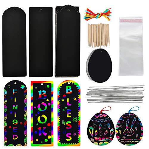 JuneJour 87Pcs Scratch Art Rainbow Paper Art Bookmarks DIY Gift Tags Magic Rainbow Notes Cards with Satin Ribbons Bamboo Stylus for Children Students Party Favor Classroom Travel Activity