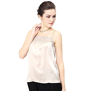 413171e08e627f Forever Angel Women s 100% Silk Charmeuse Lace Camisole Top Ivory Size XS