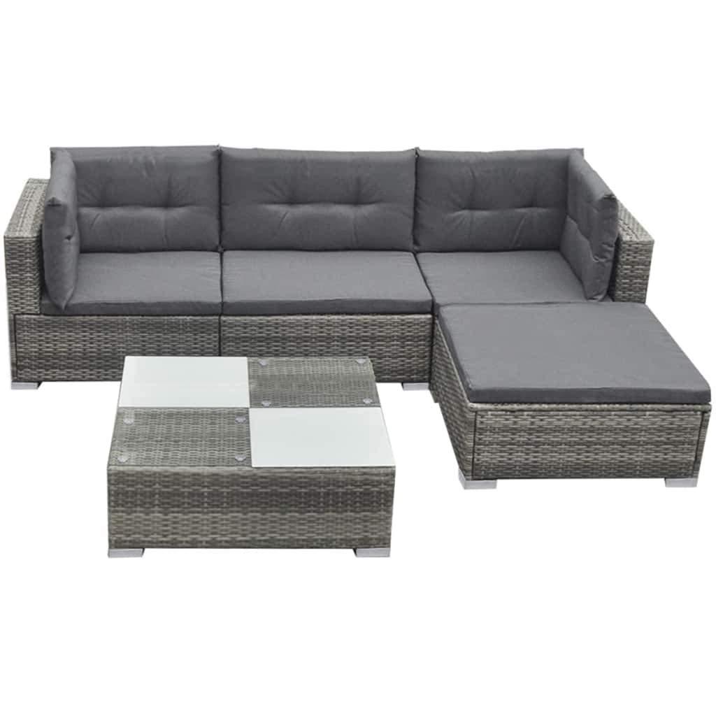 vidaXL Garden Lounge Set 9 Pieces Poly Rattan Grey Outdoor Patio Sofa Seat