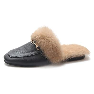 f9518c6362b CYBLING Women s Soft Slip-on Loafer Slides Squre Toe Buckle Velvet Backless  Fur Mules Black