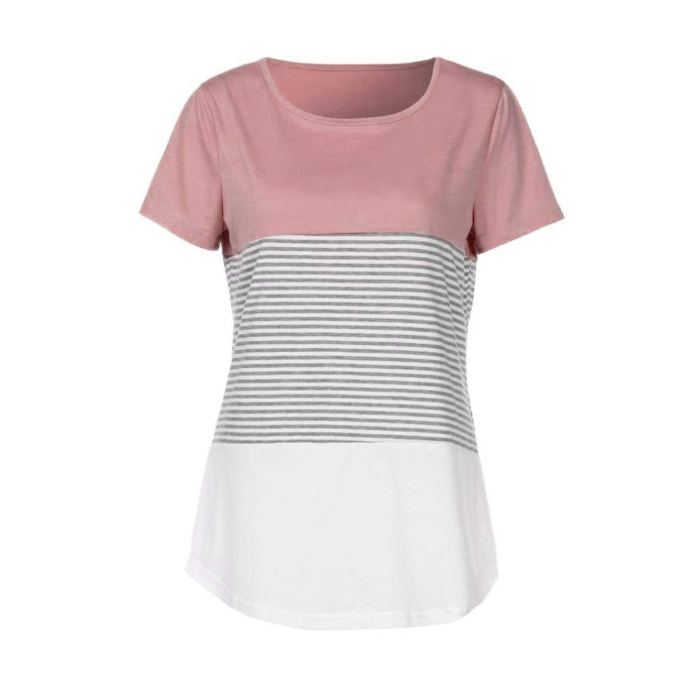 JFLYOU Women T-Shirt,Fashion Short Sleeve Triple Color Block Stripe Casual Blouse Tunic Tee(Pink1,S) by JFLYOU-Blouse (Image #3)