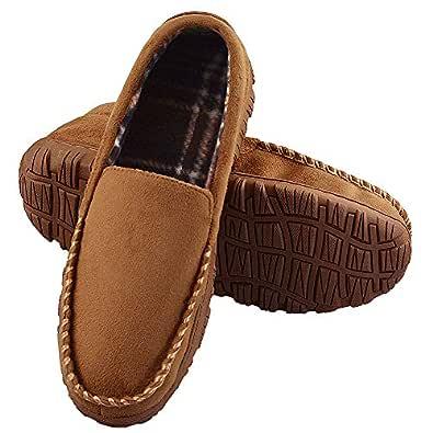 LA PLAGE Men's Advanced Anti-Slip Indoor/Outdoor Moccasin Slippers with Hardsole Size 9 US Beige