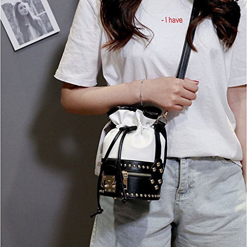 Bags Messenger Women Shoulder Hobo Purse White Numkuda Tote Rivet Handbag 4cqfnw14ZI