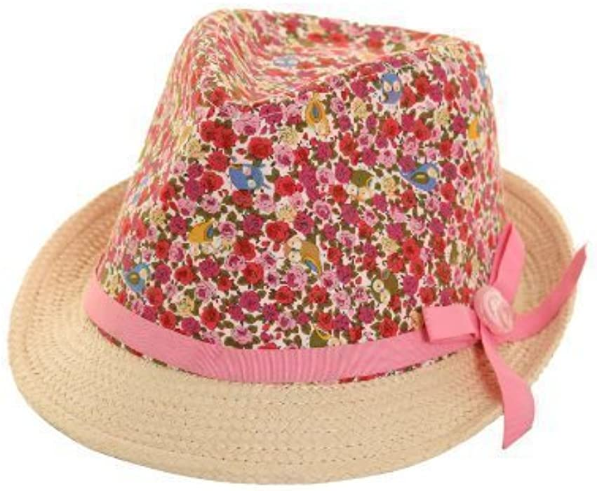 4d953bcfc Girls Floral/Natural Straw Trilby Hat 56cm one size. fast post 1st ...